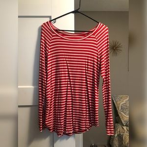 Red Stripe Long Sleeve Top